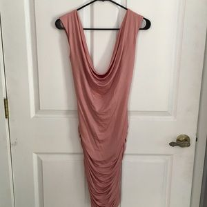Blush Pink Rouched Dress BEBE